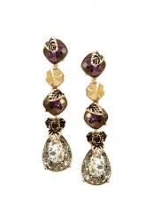 Indian Fashion Designers - Nine Vice - Contemporary Indian Designer - Gold and Plum Long Earrings - NIV-SS20-A-E15