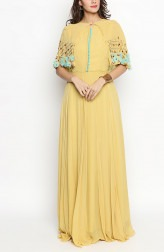 Indian Fashion Designers - Priti Sahni - Contemporary Indian Designer - Yellow Georgette Anarkali - PS-SS19-PSL262