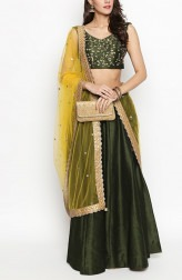 7bff0667fc Indian Fashion Designers - Priti Sahni - Contemporary Indian Designer -  Moss Green Raw Silk Lehenga