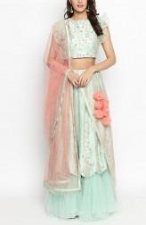 2ac4e4db28 Indian Fashion Designers - Priti Sahni - Contemporary Indian Designer -  Light Mint Green Pure Raw