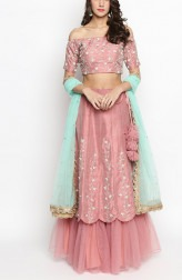 Indian Fashion Designers - Priti Sahni - Contemporary Indian Designer - Nude Pink Pure Raw Silk Embroidered Lehenga - PS-SS19-PSL296