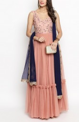 Indian Fashion Designers - Priti Sahni - Contemporary Indian Designer - Nude Pink Ruffle Anarkali - PS-SS19-PSL297