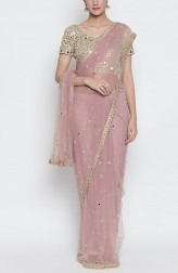 Indian Fashion Designers - Priti Sahni - Contemporary Indian Designer - Lilac Net Saree - PS-SS19-PSS519