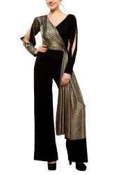 Indian Fashion Designers - RS By Rippii Sethi - Contemporary Indian Designer - Black Metallic Jumpsuit - RS-AW18-L2034