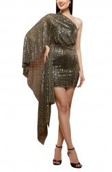 Indian Fashion Designers - RS By Rippii Sethi - Contemporary Indian Designer - Silver Metallic Dress - RS-AW18-L2058