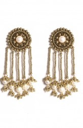 Indian Fashion Designers - Vaidaan Jwellery - Contemporary Indian Designer - Golden And White Sunburn Earrings - VJ-SS19-VAI00ADE08