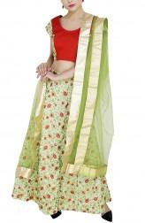 Indian Fashion Designers - GirlsAndBelles - Contemporary Indian Designer - Green Embroidered Silk Lehenga - GAB-AW18-LH005