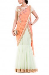 Indian Fashion Designers - Anju Agarwal - Contemporary Indian Designer - Pastel Green And Orange Drape Gown Saree - ANJA-AW16-LSA-6950