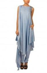 Indian Fashion Designers - Kakandora - Contemporary Indian Designer - Asymetric  Light Blue Top - KAK-AW16-KAKPF018