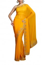 Indian Fashion Designers - Kyra - Contemporary Indian Designer - Saffron and Gold Saree - KYA-AW16-KY014