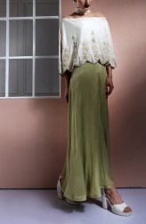 Indian Fashion Designers - Nidhi Singh - Contemporary Indian Designer - Embellished Ivory Off Shoulder Jumpsuit - NDC-SS17-NIDSP052