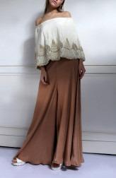 61a74f47a19 Indian Fashion Designers - Nidhi Singh - Contemporary Indian Designer -  Offshoulder Flowy Cape Jumpsuit -