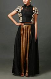 Indian Fashion Designers - Nidhi Singh - Contemporary Indian Designer - Embellished Black and Gold Crop Top Set - NDC-SS17-NIDSS037