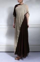 Indian Fashion Designers - Nidhi Singh - Contemporary Indian Designer - Dark Brown Bell sleeve Dress - NDC-SS17-NIDSS039