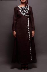 Indian Fashion Designers - Prisha by Shivesh - Contemporary Indian Designer - Dark Brown Long Jacket Tunic - PRSH-AW16-Swasti-14