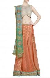 Indian Fashion Designers - Priti Sahni - Contemporary Indian Designer - Peach Mint Green Lehenga - PRS-SS17-PSL113