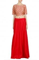 Indian Fashion Designers - Priti Sahni - Contemporary Indian Designer - Blush Pink Crop Top Lehenga - PRS-SS17-PSL128