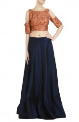 Indian Fashion Designers - Priti Sahni - Contemporary Indian Designer - Peach Salli Crop Top Lehenga - PRS-SS17-PSL130