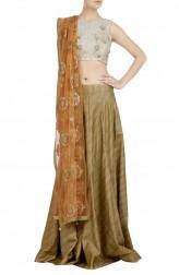 Indian Fashion Designers - Priti Sahni - Contemporary Indian Designer - Off-White Raw Silk Lehenga - PRS-SS17-PSL143
