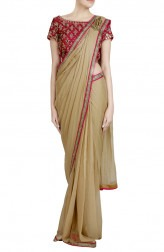 Indian Fashion Designers - Priti Sahni - Contemporary Indian Designer - Pre Draped Golden Shimmer Saree - PRS-SS17-PSS420