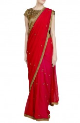 Indian Fashion Designers - Priti Sahni - Contemporary Indian Designer - Ombre Deep Pink Saree - PRS-SS17-PSS421