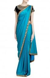 Indian Fashion Designers - Priti Sahni - Contemporary Indian Designer - Mirror Worked Blue Saree - PRS-SS17-PSS432