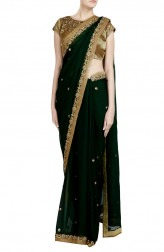 Indian Fashion Designers - Priti Sahni - Contemporary Indian Designer - Zardozi Embroidered Emerald Saree - PRS-SS17-PSS437