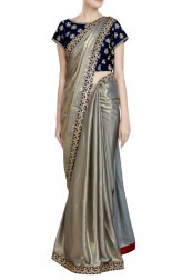 Indian Fashion Designers - Priti Sahni - Contemporary Indian Designer - Blue Accented Shimmer Saree - PRS-SS17-PSS445