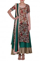 Indian Fashion Designers - Rang - Contemporary Indian Designer - Green Printed Suit - RNG-AW16-10-035