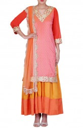 Indian Fashion Designers - Rang - Contemporary Indian Designer - Pink and Orange Suit - RNG-AW16-10-039