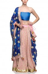 Indian Fashion Designers - Rang - Contemporary Indian Designer - Light Pink and Blue Lehenga  - RNG-AW16-2-055