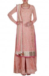 Indian Fashion Designers - Rang - Contemporary Indian Designer - Peach Ombre Suit - RNG-AW16-3-122