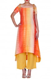 Indian Fashion Designers - Rang - Contemporary Indian Designer - Yellow and Orange Suit - RNG-AW16-3-137