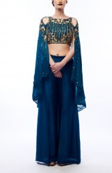 Indian Fashion Designers - Renee Label - Contemporary Indian Designer - Teal Cape Palazzo Set - REN-SS16-RLL1-Chalcedony