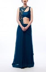 Indian Fashion Designers - Renee Label - Contemporary Indian Designer - Teal Draped Saree - REN-SS16-RLL2-Emarald