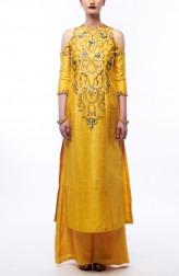 Indian Fashion Designers - Renee Label - Contemporary Indian Designer - Amber Yellow Kurta Set - REN-SS16-RLL4-Amber