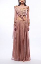 Indian Fashion Designers - Renee Label - Contemporary Indian Designer - Nude Embroidered Lehenga - REN-SS16-RLL5-Topaz