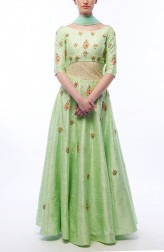 Indian Fashion Designers - Renee Label - Contemporary Indian Designer - Pistachio Anarkali Dress - REN-SS16-RLL7-Jade