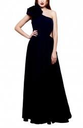 Indian Fashion Designers - Swatee Singh - Contemporary Indian Designer - Navy Blue Tailing Cape Gown - SWS-AW17-4051