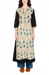 Indian Fashion Designers - Yosshita & Neha - Contemporary Indian Designer - Beige And Black Silk Tunic - YN-AW17-YNIT16