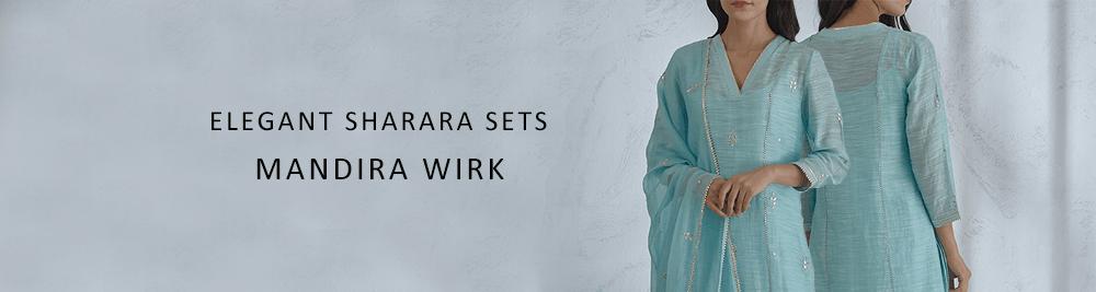 SCALLOPED KURTA WITH LIGHT BLUE SHARARA BOTTOMS