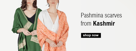 Buy gorgeous Pashmina, Cashmere scarves with embroidered details straight from Kashmir