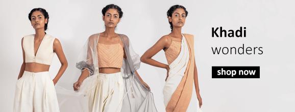 buy khadi clothes including tops, sarees, dresses