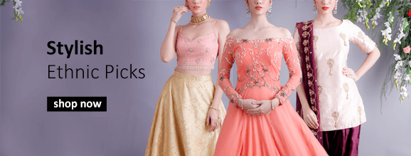 Buy indian ethnic clothes for women including lehengas, sarees, salwar suits