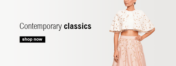 Buy Contemporary Indian Designer clothing for Women including Lehengas, Dresses