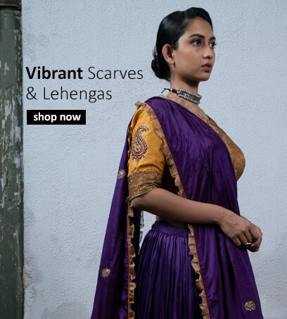 Buy traditional Indian designer lehengas and dupattas in vibrant colours