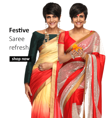 Buy Indian designer sarees for parties and special occasions including weddings from Mandira Bedi