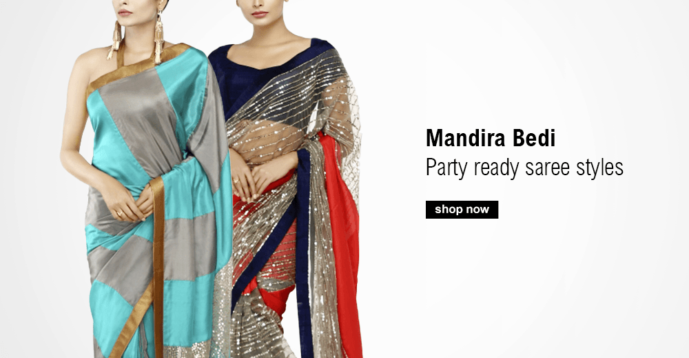 Gorgeous party ready sarees by indian designer and TV personality Mandira Bedi added to our collections