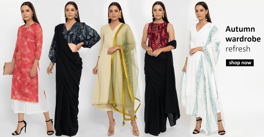 Buy Indian designer clothes for women including Tops, Salwar Suits, Tunics