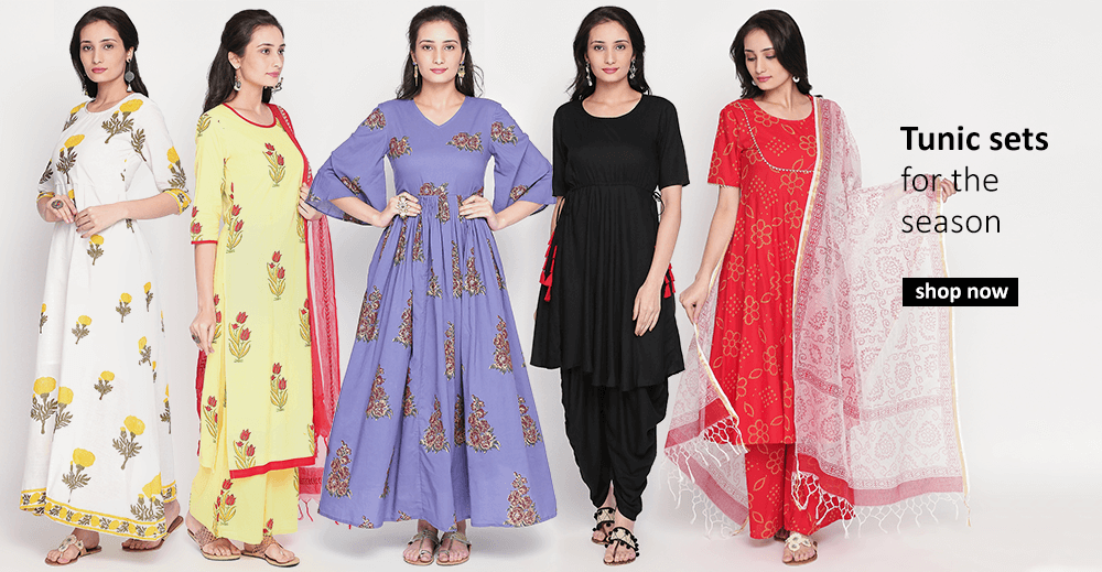 Buy Tunic tops, tunic sets, salwar suits from Indian fashion designers